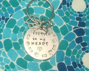 FURever in my Heart Hand Stamped metal keychain