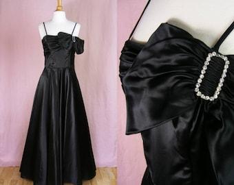 Vintage 1940s Black Satin Evening Gown - Film Noir Femme Fatale Dress - Rhinestones and Bow - Black Swan (small)