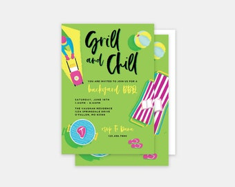 Grill and Chill BBQ Birthday Invitations // Summer Barbecue Birthday Invitations, Backyard Bbq Birthday Invites, Summer BBQ Party Invite