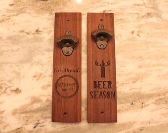 bottle opener, mounted bottle opener, take your top off, beer opener, wall bottle opener -Naked Wood Works
