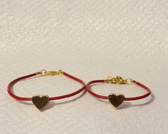 Mommy and Me Matching Heart Bracelet Set- Red