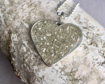 Sparkle Heart Necklace, Mother's Day Sparkle Necklace, Sparkle in Resin and Silver Necklace