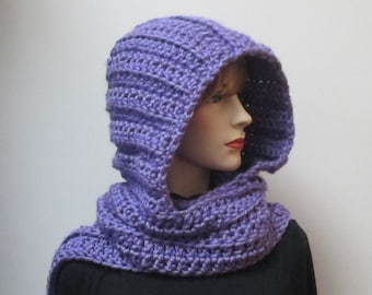 Bright Purple Scarf with Hood, Long Scarf with Hood, Purple Hat, Womans Hooded Scarf, Oversized Scarf, Gift for Teen, Elizabeth B5-046