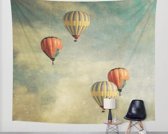 wall tapestry, large size wall art, wall decor, tapestry, modern wall hanging, hot air balloons tapestry, carnival, balloons