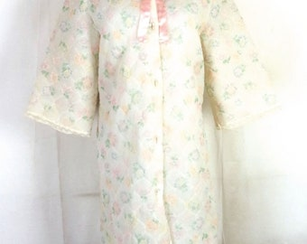 vtg 50s 60s Crown BEAUTIFUL Pastel Floral Quilted Nylon House Coat Robe Lace 18