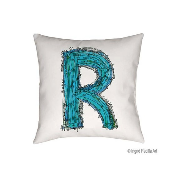 Whimsical, Letter, R, blue, Pillow, monogrammed pillow, Illustration, funky, typography, Alphabet, Art, Decor, fabric, Ingrid Padilla
