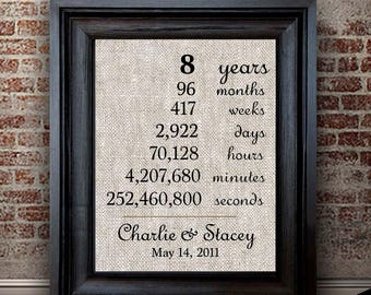 8 Year Anniversary Gift for Wife | 8th Anniversary Gift for Husband | Personalized Anniversary for Spouse | Years Days Weeks Months
