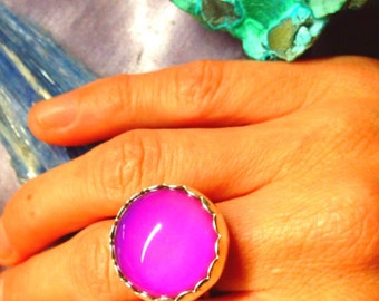 Ring,color changing mood ring,silver bezel mood ring,Sterling silver handmade moodring,cosmic,trippy,galactic