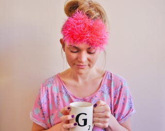 fluffy, furry, pink, crochet eye mask, sleep mask