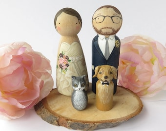 Wedding Cake Toppers with Pet // Peg Dolls Custom Wedding Cake Topper // Wooden Dolls // Cake Toppers // Custom Portrait