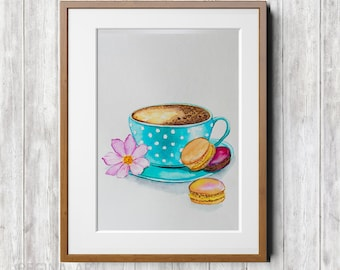Watercolor Print Coffee Cup Art Print of Watercolor Painting Coffee Cup and Macarons Painting Macaroons Art Print Watercolor Food Wall Art