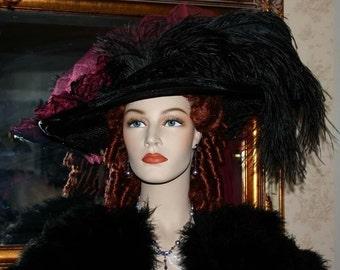 Kentucky Derby Hat Ascot Edwardian Victorian Ascot Titanic Hat Women's Black Burgundy Hat Wide Brim Hat - Burgundy Crystal Fairy -