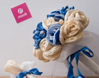 Blue and Beige fabric's boutonniere