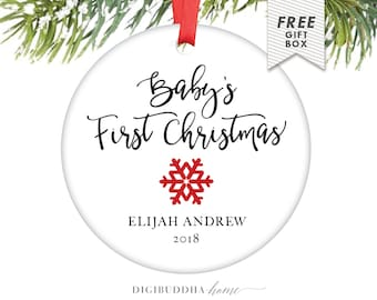 Baby's First Christmas Ornament Boy Baby Ornament Baby Boy Christmas Ornament Personalized Ornament Baby's 1st Christmas Ornament Snowflake