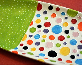 Polka Dot Mod Tray - in rainbow colors and lime green-- Made to Order