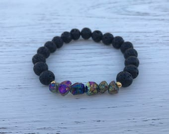 Mystic Healing Lava Rock And Aura Quartz Bracelet Essential Oil Diffuser For Aromatherapy