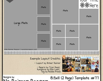 8.5x11 Digital Scrapbooking Template (2 Page Scrapbook Layout) #77