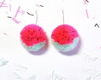 Watermelon pom pom drop earrings