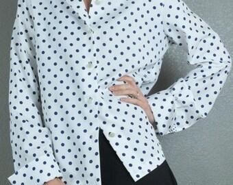 Vintage 1980's '80s Polka Dot Print Blue White Point Collar Top Blouse L-XL