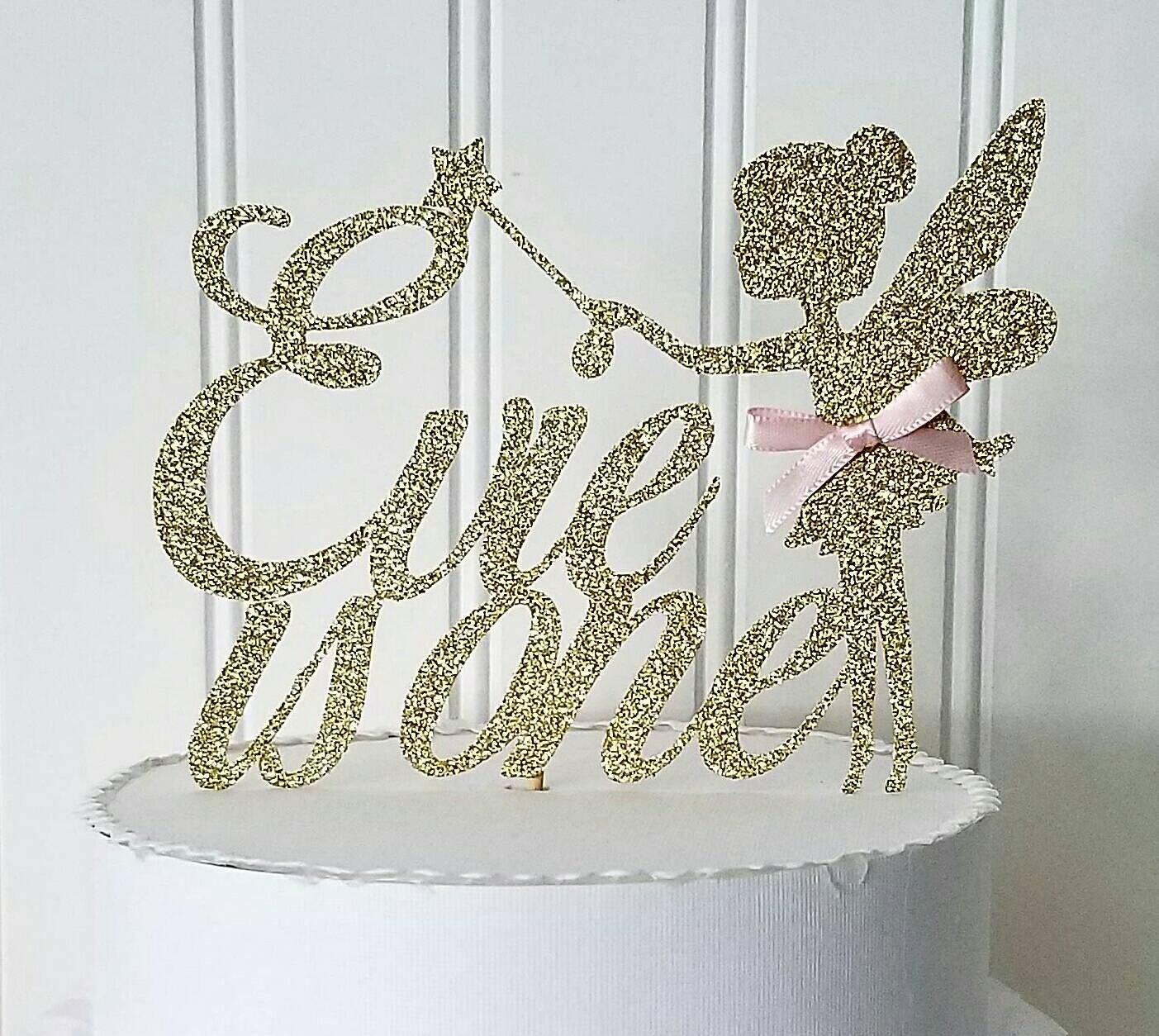 Glitter Fairy Cake Topper Glitter Fairy Topper Girl Fairy