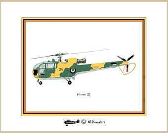 Helicopter poster printable Alouette III, digital illustration for print, drawing illustration  helicopter, instant download art  helicopter