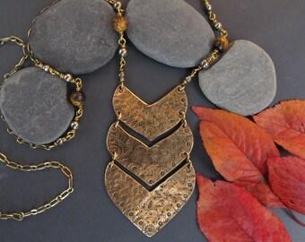 Brass Chevron Necklace, Handmade, OOAK Pyrite, Tiger Eye, Earthy, Grounding