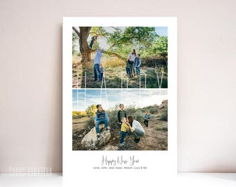New Years Card, Photo New Years Card, Holiday card, Printable New Years Card (Happy)
