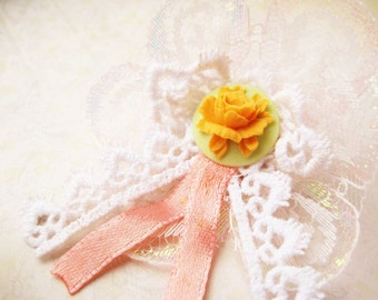 Ribbon rosette brooch with peony cameo - Olivia (orange)