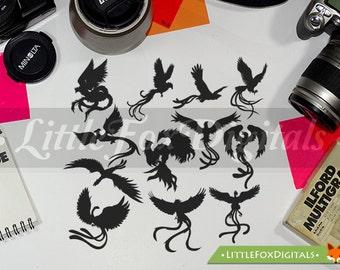 Phoenix Bird Fantasy Epic Creatures Mithologic Silhouette Clipart Set Digital Illustration Scrapbook