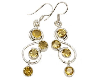 Citrine Earrings - Yellow Gemstone -  Sterling Silver Dangle Earrings AF363 The Silver Plaza
