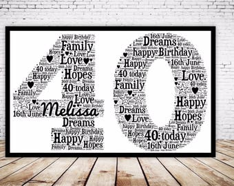 Personalised Word Art Gift Framed 40th Birthday Wedding Anniversary Mum Daughter Son Auntie Sister Friend Brother Uncle