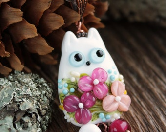 Glass lampwork pendant with cat and flowers, Lampwork cat, Glass flowers Beads, Cat jewerly, Kitty Necklace, Animal Beads, handmade beads