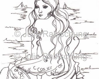 printable- digi stamp -coloring page- mermaid -adult coloring page -fantasy -light commercial use- card making -craft supply