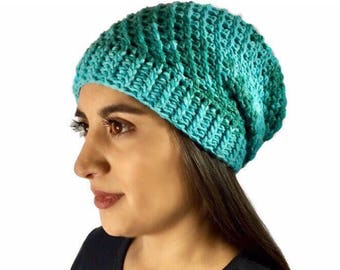 Oversized Slouchy Beanie, Crochet Slouchy hat, Slouchy Beanie, Hat, Aqua Slouchy, Teal Slouchy Fall/Winter Fashion Ready To Ship