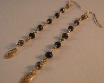 Long Sapphire Gemstone Earrings, gold earrings, gemstone earrings, long earrings, cascading earrings, sapphire earrings, dangle earrings