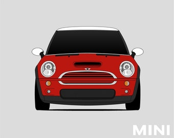 Mini Cooper Poster // Mini Cooper S // Austin Mini // R50 R53 // BMW Mini // First Generation MINI // Mini Cooper Poster