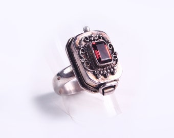 Silver and Garnet poison ring