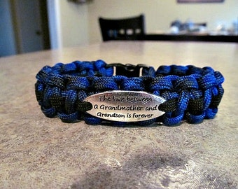 The Love Between a Grandmother and Grandson is Forever Charm Paracord Bracelet - handmade
