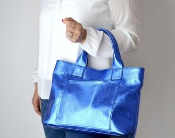 CAMILLA BAG Borsa in pelle, borsa a mano, borsa pelle blu, borsa in pelle metallizzata
