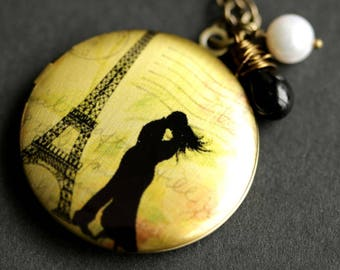 Love In Paris Locket Necklace. Eiffel Tower Necklace with Black Teardrop and Fresh Water Pearl. Romantic Paris Necklace. Handmade Jewelry.
