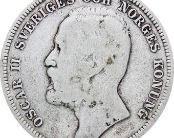 Sweden 1897 1 Krona Oscar II Coin Silver