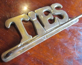BRASS Tie Rack Wall Mounted Tie rack Word Ties to hang your ties on Closet organization for Dad