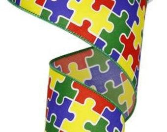 "2.5"" Autism Awareness Puzzle Pieces Ribbon (10 Yards)"