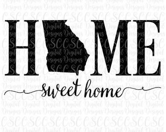 Georgia SVG, Home Sweet Home Cutting File, Georgia svg File, Georgia Home, Silhouette Cut File, svg, dfx, pdf, png Buy 2 Get 1 Free