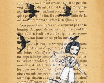 Girl Running with Birds - Book Page illustration, Pen and paint, wonderland, print 5x7