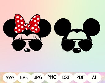 Mickey & Minnie Mouse Sunglasses SVG, Mickey and Minnie Sunglasses Clipart, Cut Files, Silhouette, Cricut, Instant Download