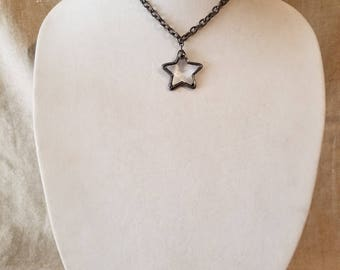 Star necklace, soldered star, chain necklace, short necklace, gunmetal chain