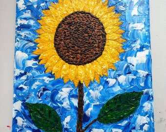 """Original Sunflower Acrylic Palette Knife/Impasto Painting  """"Shine Anyway"""""""