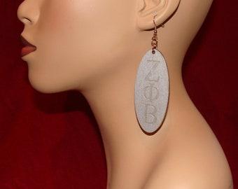 Zeta Phi Beta Three Inch Wooden Earrings