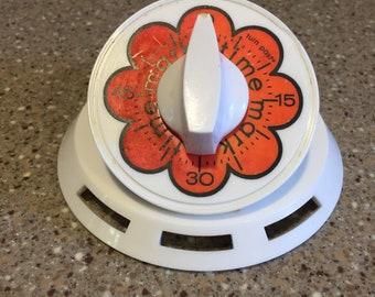 Vintage 60s Mark Time Mechanical Kitchen Timer 60 Mins Bell Orange Flower